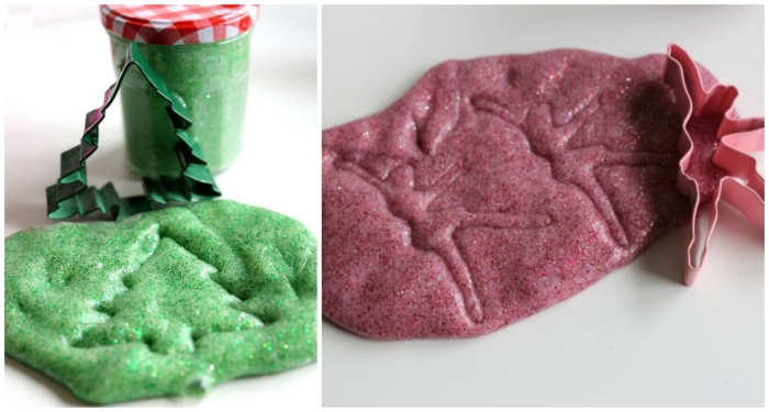 ballerina and christmas tree-shaped cookie cutters, in pink and green, placed near slime in corresponding colors, with shapes pressed on it