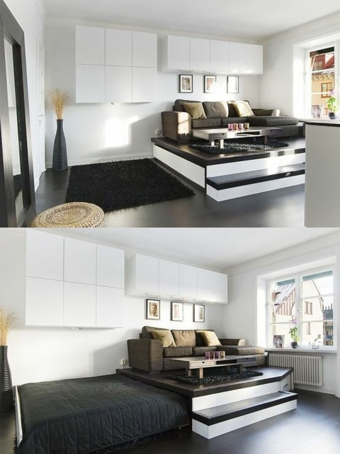 sunlit living room area, with a dark brown sofa, and a retractible bed, room design, white walls with cabinets, smooth black floor, with a black fluffy rug
