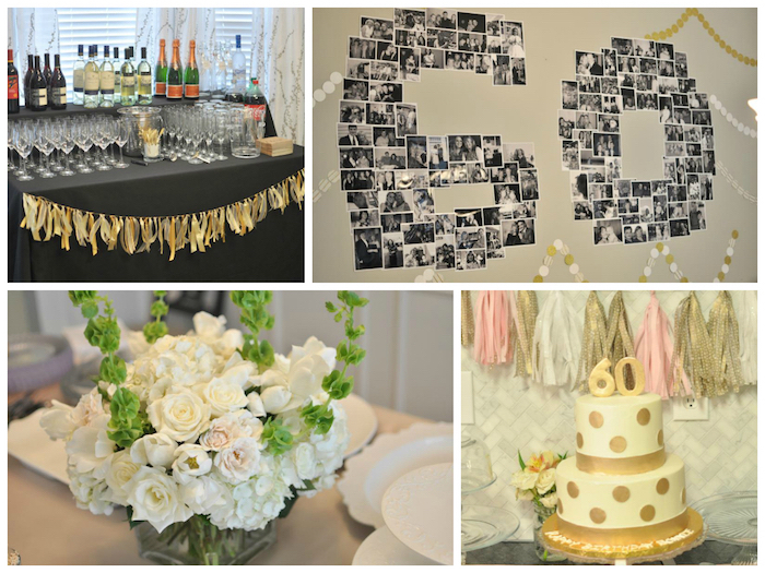 collage with four images, a cake in white and gold, a bar with bottles and glasses, a bouquet of white roses, and a wall decoration with black and white photos, forming the number 60