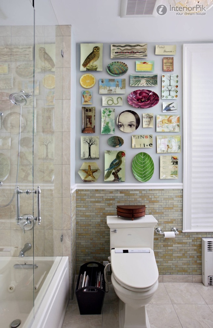 shower cabin made of clear glass, and a white toilet seat, diy bathroom decoration, featuring an assortment of colorful images
