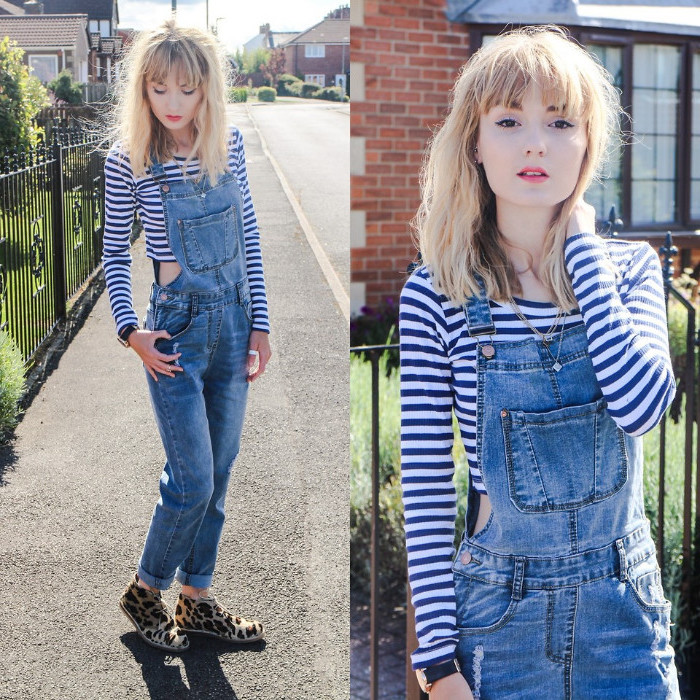 messy blonde hair and bangs, on slim woman, wearing a striped cropped jumper, and retro denim overalls, 90s clothes womens, animal print shoes