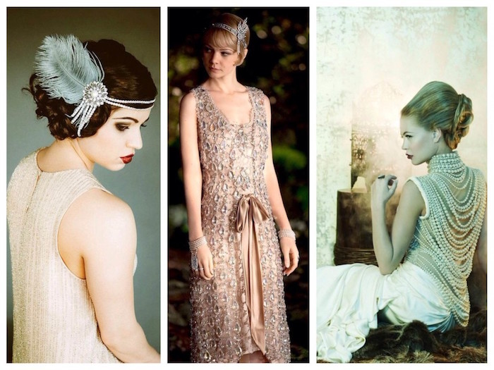 collage showing three images of women, dressed in 1920s attire, cream embroidered dress, worn with a feathered pearl headband, white dress with pearls, carey mulligan with a pink flapper dress