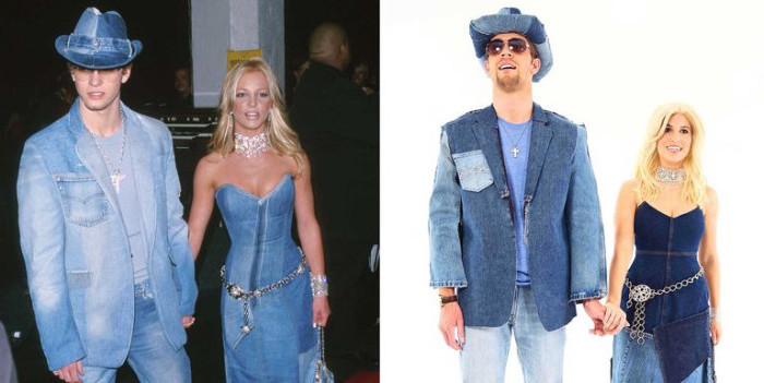 90s halloween costumes, couple dressed in full denim outfits, imitating britney spears and justin timberlake, strapless denim dress, jeans and a denim blazer, with denim cowboy hat