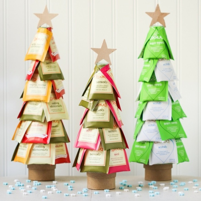 creative gift ideas, three christmas trees, made from tea packets, and decorated with stars