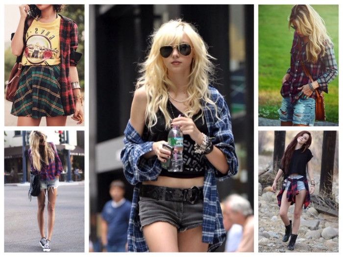 style tips, five images of women, wearing flannel shirts in different ways, buttoned and unbuttoned, round the waist, and off the shoulder