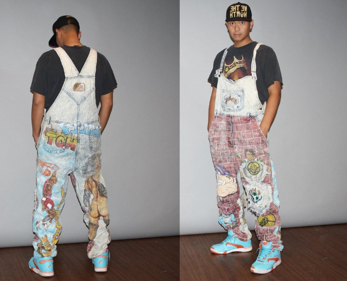 turquoise and orange vintage high-top sneakers, worn with pale denim overalls, decorated with colorful drawings, 90s clothes mens, grey t-shirt and baseball cap