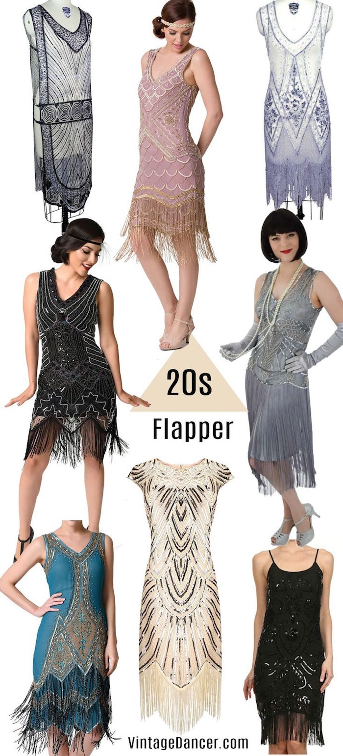 teal and black, grey and pink, pale blue and cream, and sheer navy, gatsby inspired dresses, with silver art deco embroidery, fringe details and seqins
