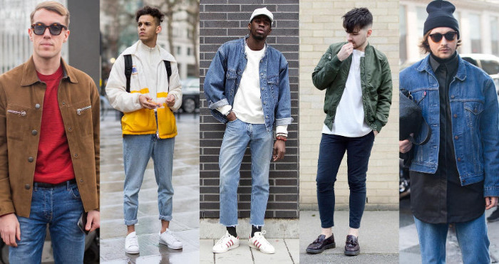vintage clothes ideas, brown corduroy jacket, pale blue rolled-up jeans, 90s clothes mens, denim jackets and t-shirts
