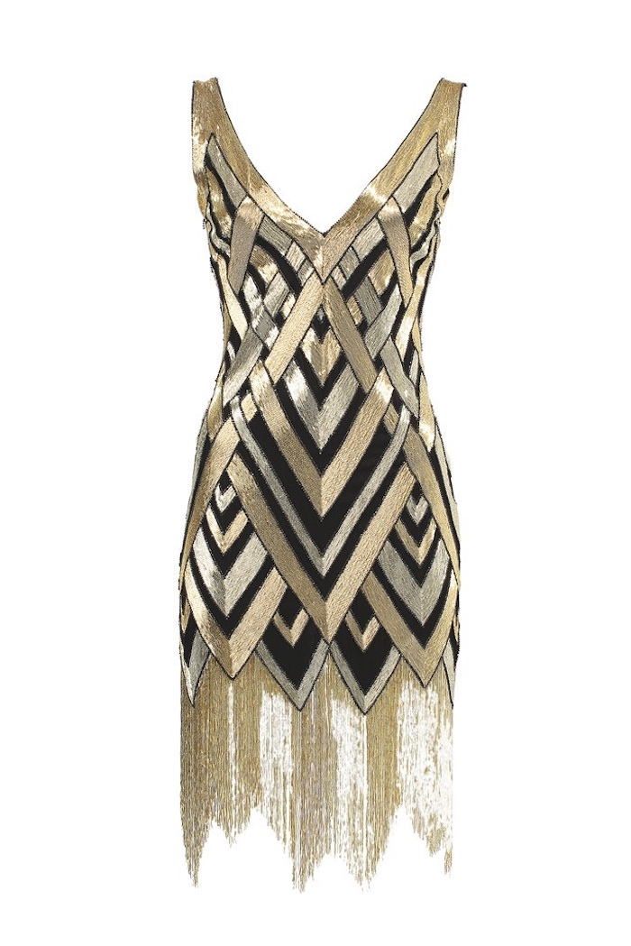 sleeveless gatsby themed dress, in black and silver and gold, featuring a v-shaped neckline, and a long fringed gold hem