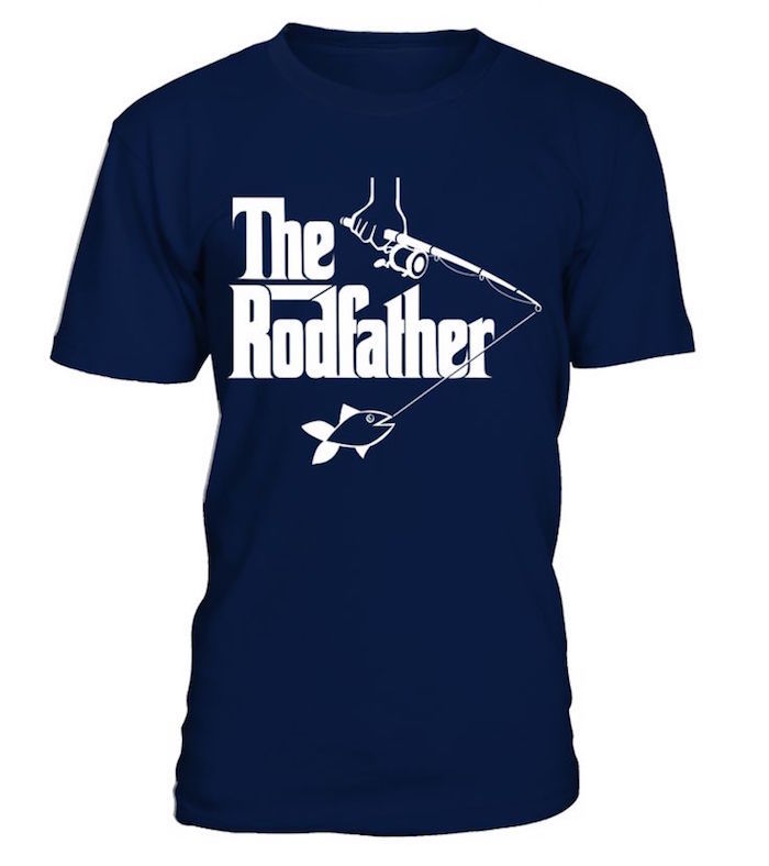 dark blue plain t-shirt, with a white print, depicting a hand holding a fishing rod, with a caught fish, with the words the rod father