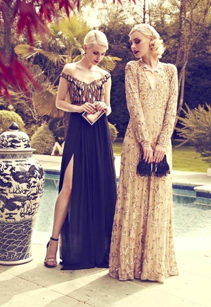 evening gowns in black and beige, decorated with gold sequins, and shimmering embroidery, gatsby themed dress, on two young blonde women, holding clutch bags