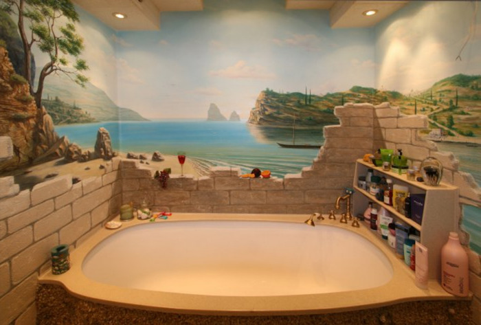 broken wall in grey, and a seashore landscape, hand-painted on the walls of a room, diy bathroom decoration, and a large bathtub