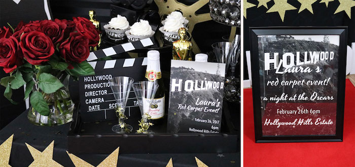 champagne and two glass flutes, a bouquet of red roses, and a gold oscar figurine, on a black surface, near a clapperboard and other items, 60th birthday decorations