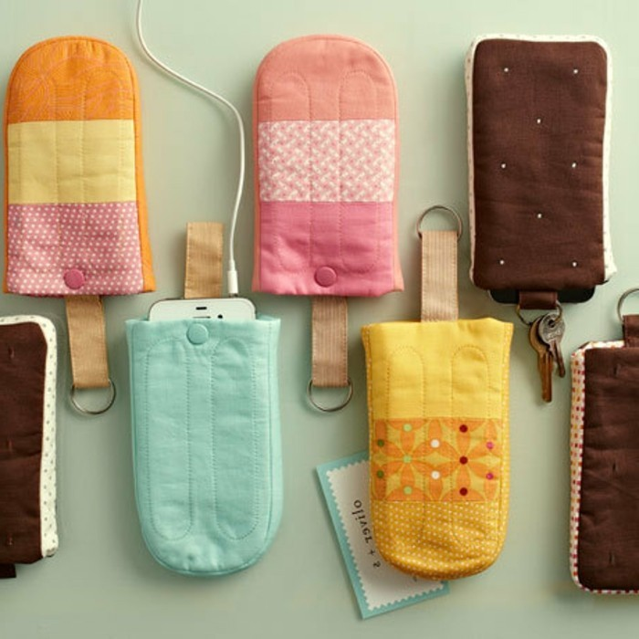 mobile phone covers, shaped like ice creams on a stick, handmade gifts, made from pieces fabric, in different colors