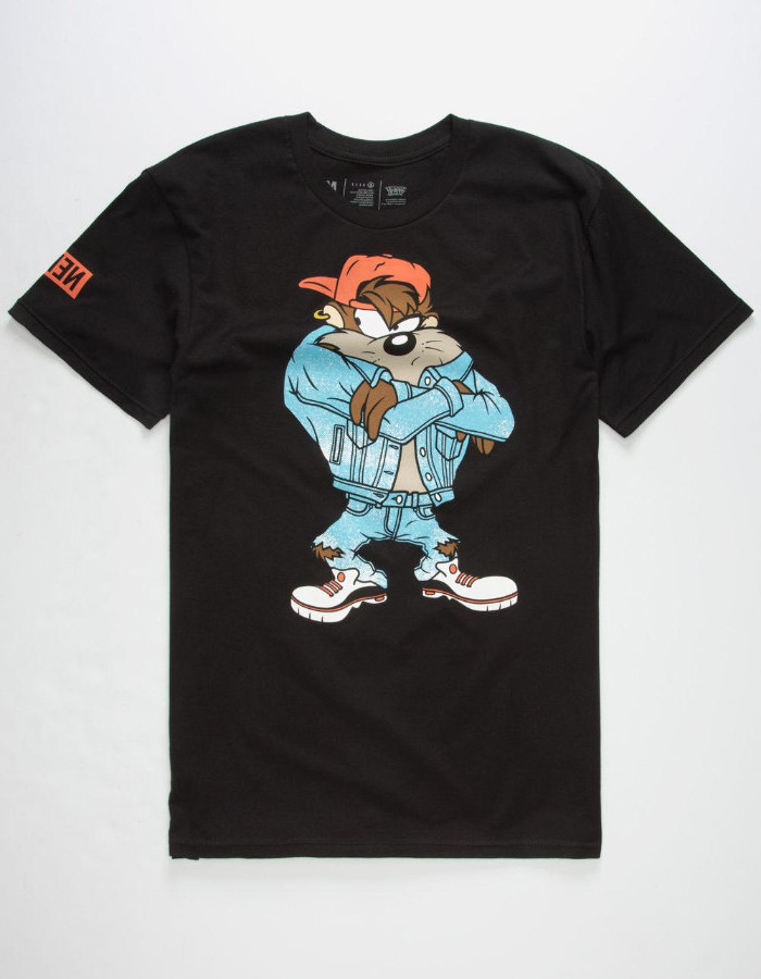 90s themed outfits, black t-shirt with a colorful print, featuring taz the tasmanian devil, from looney tunes, wearing 90s streetwear