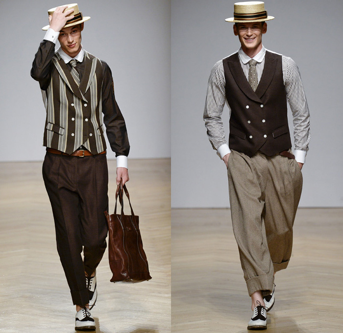 young men's great gatsby costumes, black trousers and shirt, worn with a striped vest, beige trousers and a pinstripe shirt, worn with a black vest, straw flattop hats