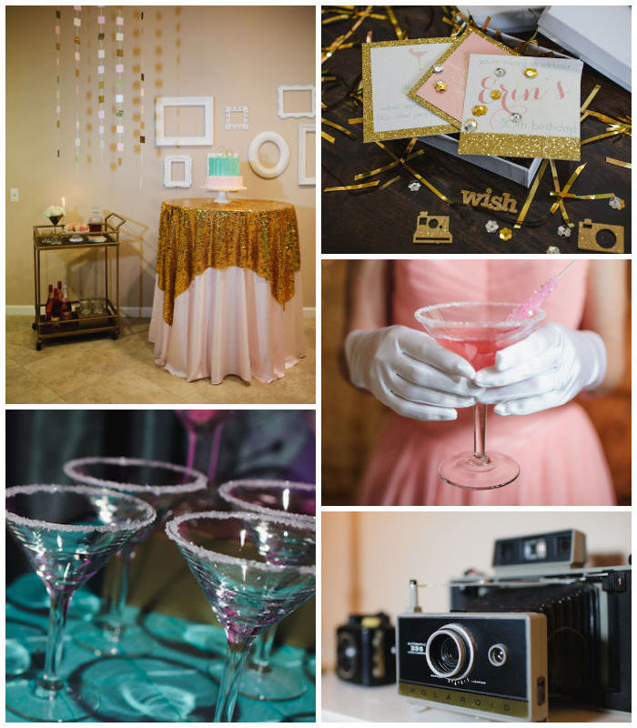 hands in white gloves, holding a cocktail glass, with sugar coated rim, filled with pink liquid, vintage camera and more cocktail glasses, pink and gold party setup, and matching invitations, mad men theme