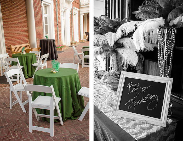 fold-up garden chairs in white, near several round tables, with green tablecloths, next image is black and white, and shows ostrich feather decorations, and a small sign
