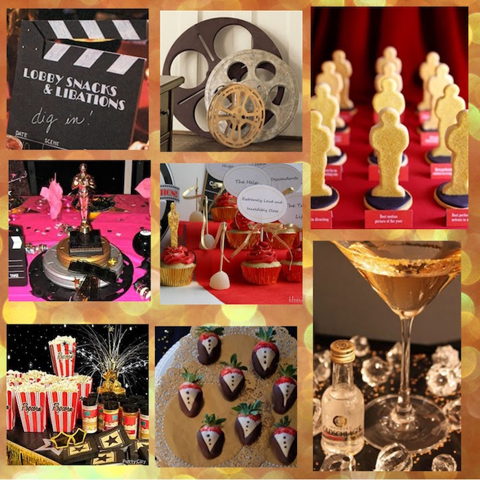 clapperboard and vintage film reels, cookies shaped like oscar statuettes, cocktails and strawberries in chocolate tuxedos, 60th birthday decorations, popcorn and cupcakes