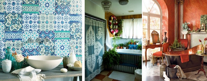 collage with three images, depicting different diy bathroom décor, flowers and rustic items, patterned fabrics and indoor plants, vintage furniture and decorations