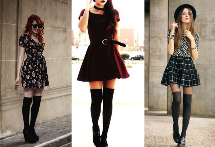 examples of 90s inspired outfits, mini dress with floral pattern, red velvet dress with belt, mini skirt and over-the-knee socks