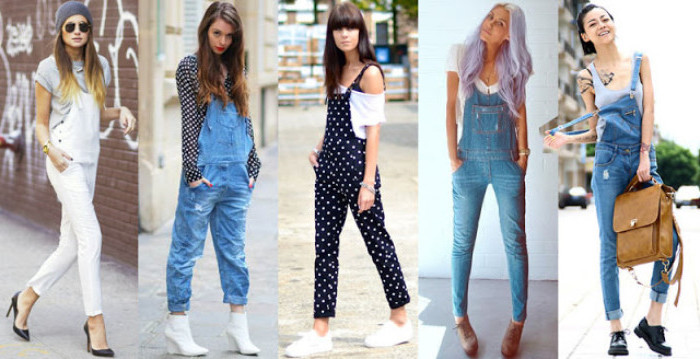 five different kinds of long, 90s overalls, white and blue, baggy and skinny, black with white polka dots