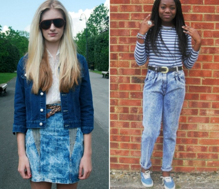 vintage clothing you can wear today, and 80's dress up ideas, acid wash high waisted jeans, with a striped top, and an acid wash denim mini skirt, with a white shirt, and a dark denim jacket, worn by two young women
