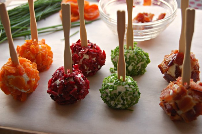 horderves ideas, eight cheese balls, with different toppings, dried apricot pieces, bacon and chives, red onion chutney