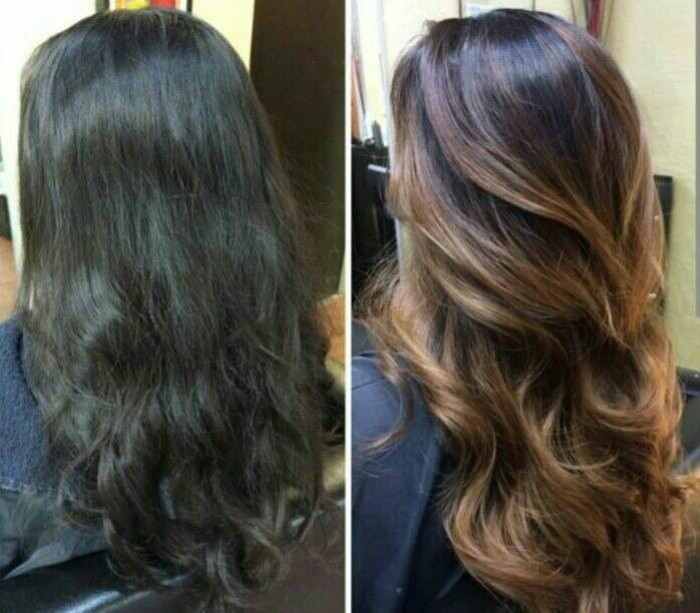 black frizzy and wavy hair, seen from the back, next image shows, dyed brown hair with blonde highlights, styled in loose curls, before and after