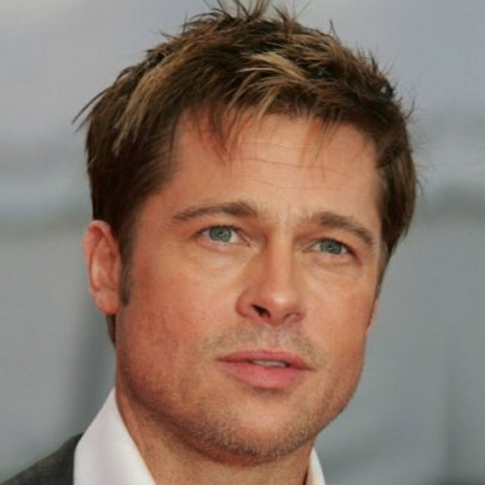 messy short haircut, on brunette hair, with blonde highlights, worn by brad pitt, seen in close up