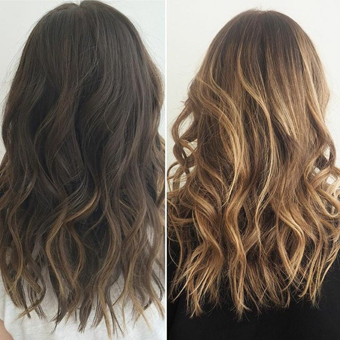 before and after images, first photo shows wavy, dark brunette hair, with slight highlights, in the second photo, we see the completed blond balayage hair