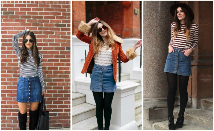 three images of a young woman, wearing a button up denim skirt, with different striped tops, over-the-knee socks and black thights, 80s costumes you can wear today