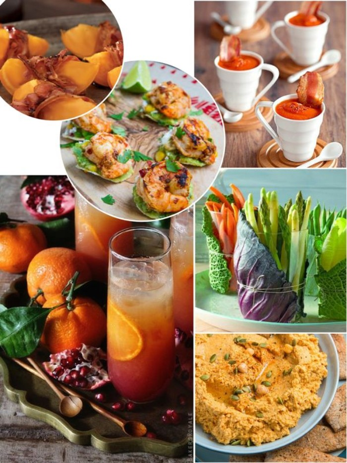 six images of different appetizers, tomato soup shots with bacon, hummus and fresh vegetables, grilled prawns and others