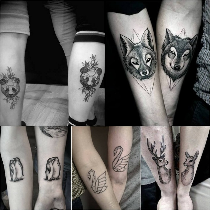 five examples of matching tattoos, done in black and white, and depicting different animals, wolf and fox, panda bears and swans, deer and buck, and a couple of penguins