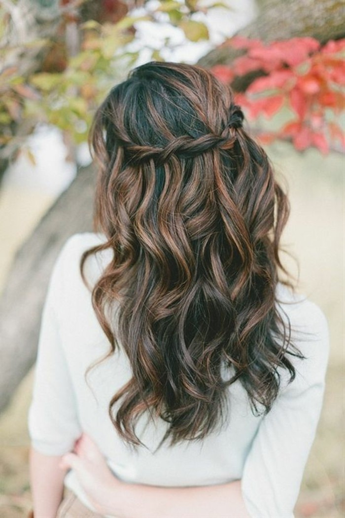 chocolate highlights on long, wavy dark brunette balayage hair, with a crown braid, worn by a woman, in a white sweater