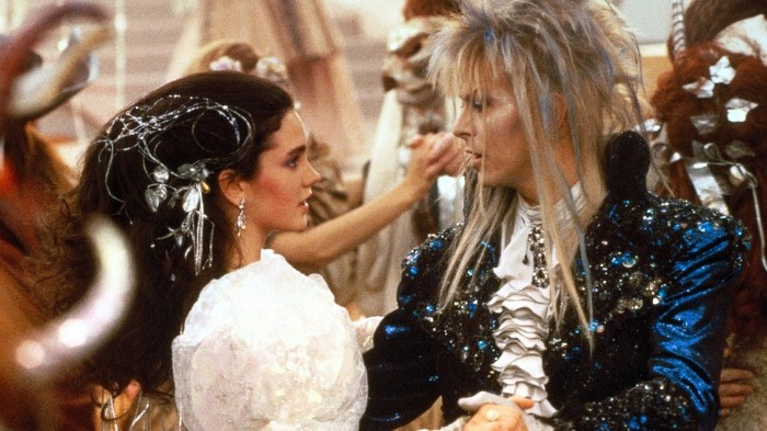 jennifer connelly and david bowie, as sarah and the goblin king, 80s costume ideas, inspired by the film labyrinth