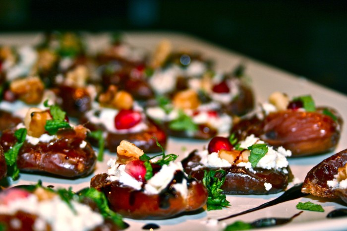 aubergine slices stuffed with cheese, chopped vegges and fresh green herbs, hot appetizer ideas