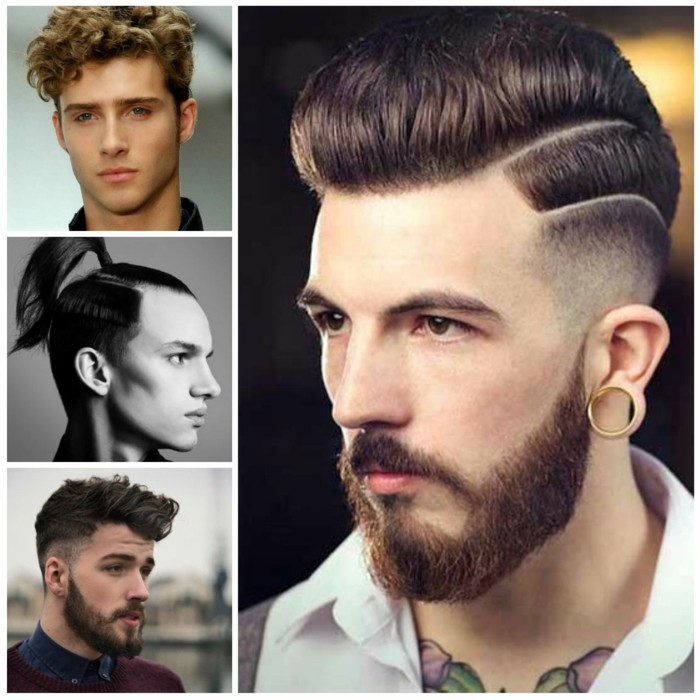 collage of four images of young men, with short and medium long hair, styled in different ways, hair style man, curly high top, ponytail and pompadour