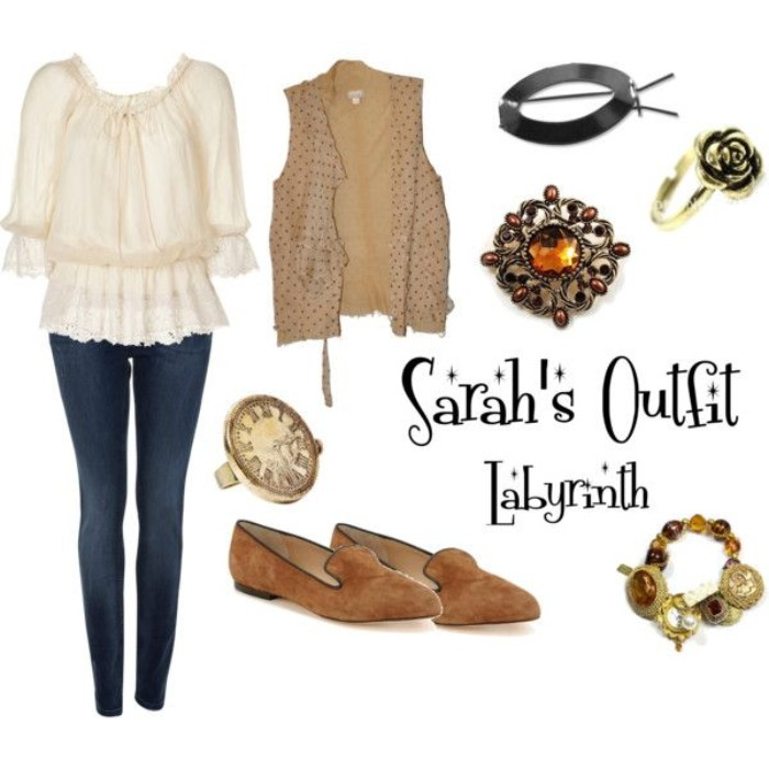 sarah's character outfit, from the film labyrinth, 80s costume ideas, frilly pale cream blouse, dark blue skinny jeans, beige vest and brown suede shoes