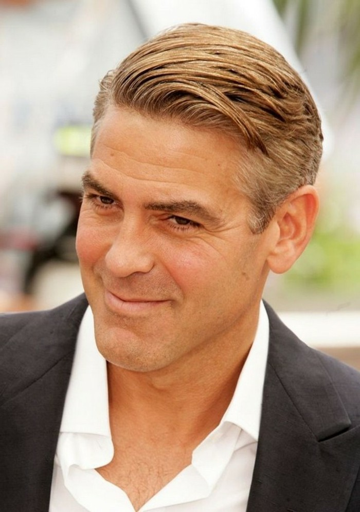 classic combover hairstyle, worn by george clooney, short haircuts for men, chestnut brown and grey