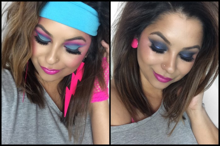 80s costume ideas, with make up, neon blue and purple eye shadow, big fake lashes, shiny purple lipstick, large pink earring, and a blue headband