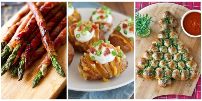 hot hor d oeuvres ideas, asparagus wrapped in bacon, baked potato with dressing, pull-apart bread with dip