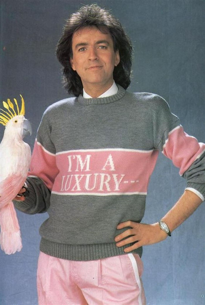 80s outfits guys, pale grey and pink knitted sweater, with white details, and an inscription reading, i'm a luxury, worn by a man, with dark wavy medium length hair, dressed in pale pink trousers, and holding a white dummy parrot