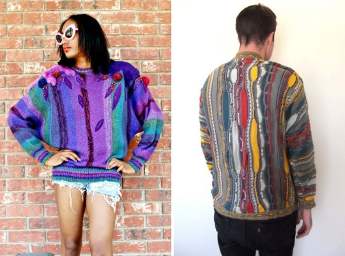 ugly multicolored sweaters, with asymmetrical patterns, striped and pompoms, worn by a young woman, with retro sunglasses, and a man, with his back to the camera, 80s outfits guys and gals