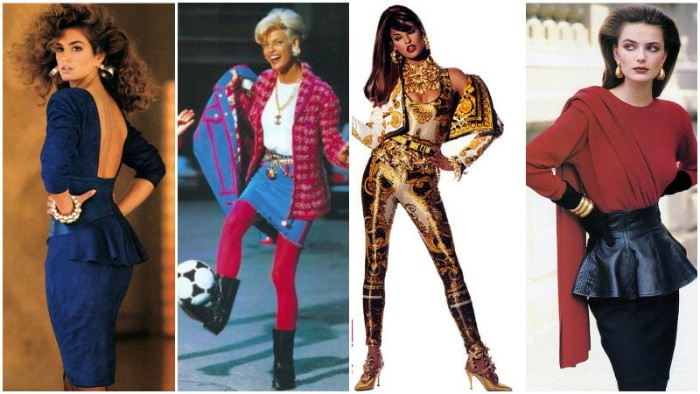 top models from the 80s, dressed in vintage outfits, backless blue dress, denim skirt with hot pink leggings, shiny white black and gold outfit, and a peplum leather skirt