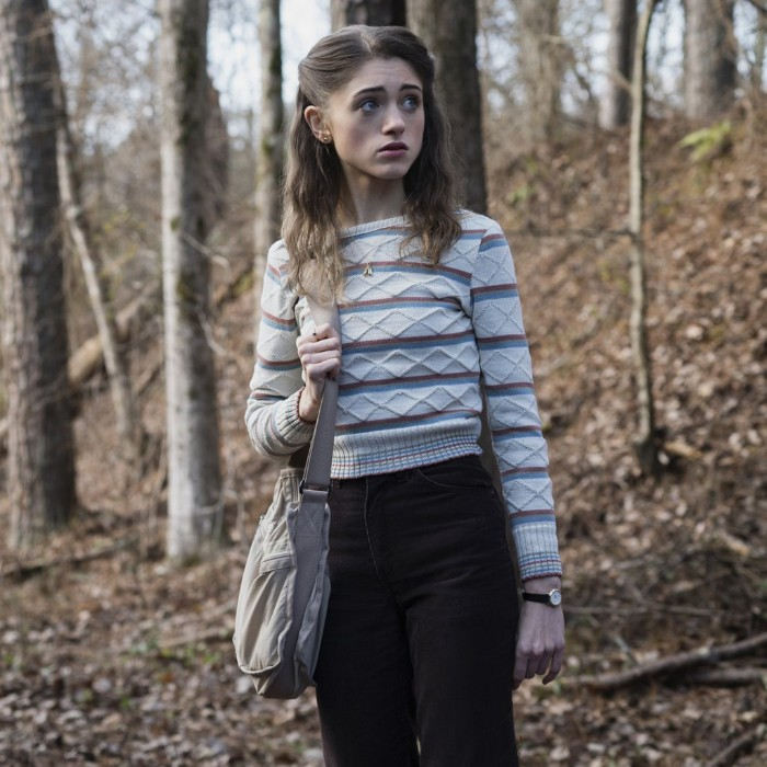 80s costumes, natalia dryer in the tv show starnger things, dressed in dark, high waisted trousers, and a patterned sweater