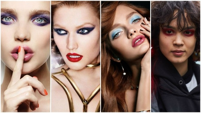 vintage make up ideas, for a 1980s look, seen on four different women, 80s costumes, for parties and special occassions
