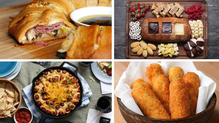 collage with four images, showing hors d oeuvres recipes, pastry stuffed with ham and cheese, pigs in a blanket, mozzarella sticks and a chocolate fountain in a bread loaf