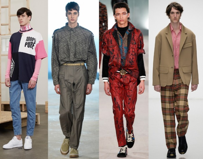 couture for men, inspired by 80s outfits guys, red and black patterned suit, michael jackson style, oversized trousers and sweaters, plaid trousers and a beige coat