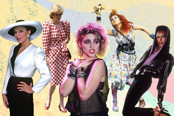 collage of famous women from the 1980s, madonna and princess diana, cyndi lauper and others, 80s costume ideas, for retro parties